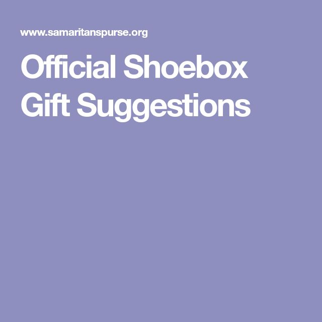 Official Shoebox Gift Suggestions