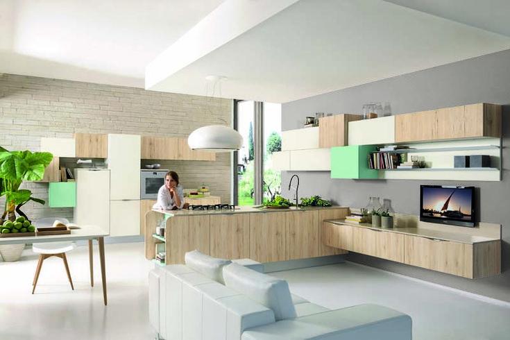 Immagina è una cucina dinamica, con i terminali delle ante stondate, gli inserti colorati e i pensili di diverse profondità. Scopri di più su http://www.cucinelubetorino.it/cucine-lube-moderne/immagina/