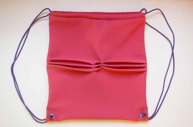 Borsa minimal, scuba backpack, scuba bag, borsa in neoprene, zaino minimal, zaino con motivi geometrici, zaino rosa, drawstring bag di ZIAIA su Etsy