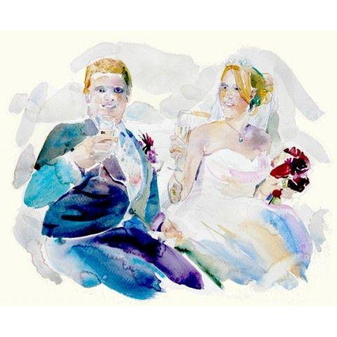 Custom Portraits - Custom Wedding Portrait - Wedding gift - Original Watercolor Portrait - Couple Portrait - Anniversary Present