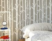 Birch Forest Stencil, Decorative Scandinavian Wall Stencil for DIY project, Decorative Wallpaper look and easy Home Decor