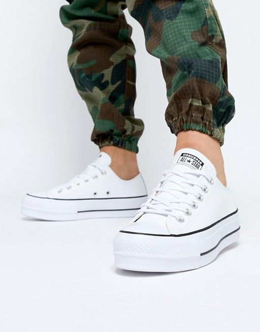 5faa10209df Converse | Converse Chuck Taylor All Star leather platform low sneakers in  white