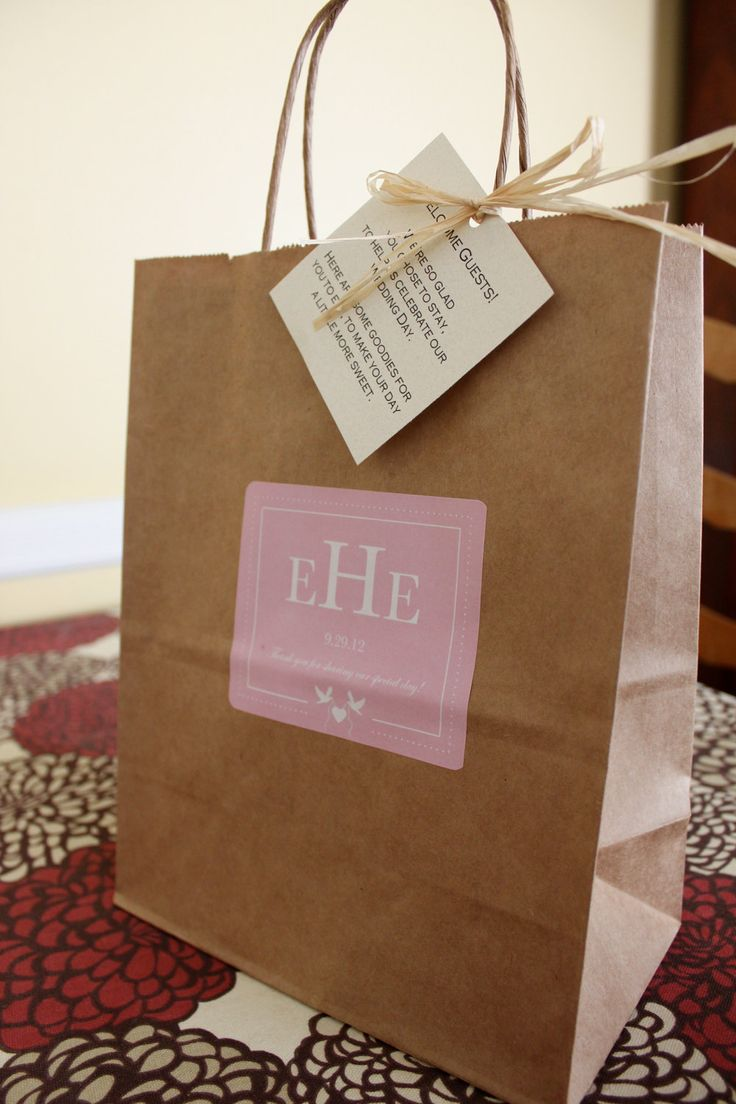 hotel welcome bags for wedding guests | Wedding Welcome Bags Out Of Town Guest Bags Love Birds and Heart Pink ...