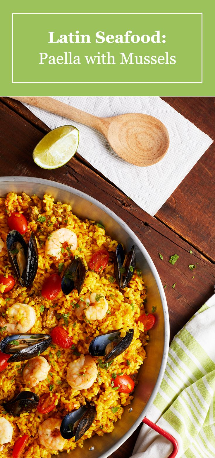 Bring authentic Latin flavor to your next party with our easy seafood paella recipe. See how shrimp, mussels and sausage come together to create a rustic and hearty meal.