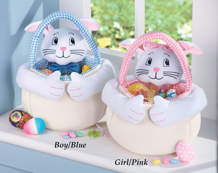 Soft Plush Easter Bunny Basket Soft Plush Easter Bunny Basket,are just the cutest! You choice of boy or girl for only $8.97. These bunny baskets are perfect for carrying Easter eggs, treats and more. Available with a pink or blue checkered handle for carrying. Hand wash. Polyester. Measures 6″Dia. x 12 1/2″H. Available in Boy/Blue or Girl/Pink. http://kittykatkoutique.com/soft-plush-easter-bunny-basket/