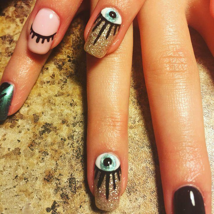 Zeta At Charles Penzone. Columbus,Ohio. Glitter nails. Evil eye nail art. OPI Gelcolor