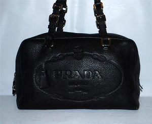 Prada purse handbag black leather 100% Authentic w/COA~Milano DAL ...