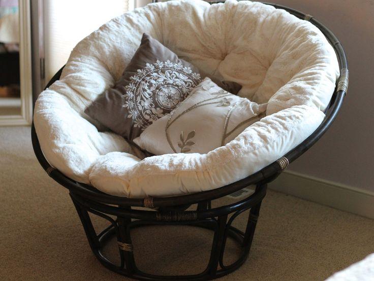 Black Rattan Outdoor Papasan Chair With White Cushion
