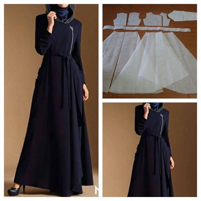 Assymetry gamis dress pattern Order via line : @modelliste