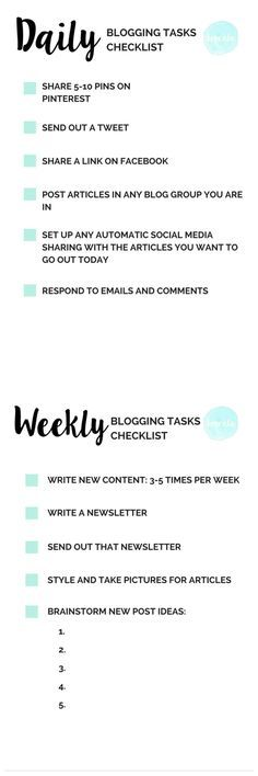 Love this checklist to stay organized. Blogging checklist-daily and weekly tasks.
