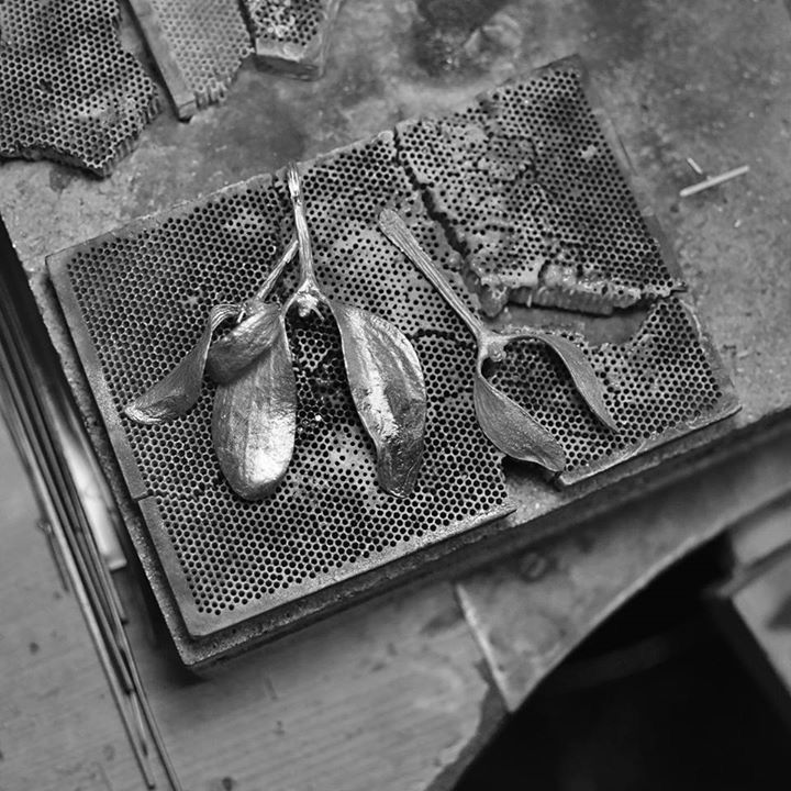 Working on new earrings and necklaces - mistletoe made of brass. Photo by Aleksandra Bruch.