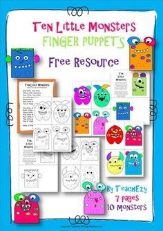 """Super cute monster finger puppets with the song """"Ten Little Monsters"""". Great for Halloween, fine motor skills and for counting forwards and backwards to 10. Provided in black and white or colour.FREE Resource. Please follow our TeachEzyTPTSTORE"""