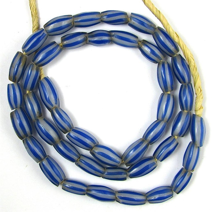 Old RARE Blue White Melon Shape Venetian Glass African Trade Beads 19 Inches |  THIS IS A NICE STRAND OF OLD RARE MELON SHAPE WHITE WITH BLUE STRIPES VENETIAN GLASS AFRICAN TRADE BEADS. #tradebeads