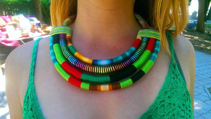 Le collier de déclaration, Collier multi brin, Corde Collier, Collier africain, Collier aztèque, Collier tribal, bijoux africains