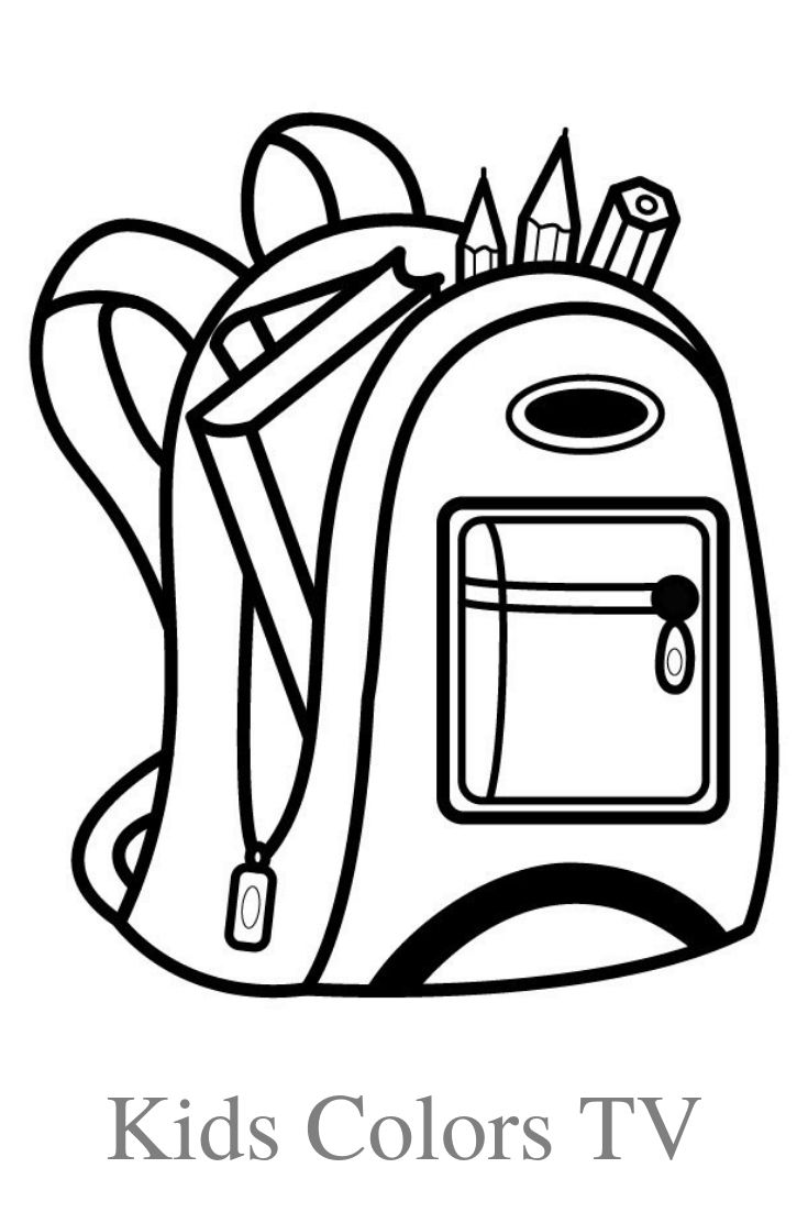 How To Draw A School Bag School Bag Drawing And Coloring Pages For Kids Kids Colors Tv Coloring For Kids Drawing Bag Coloring Pages For Kids