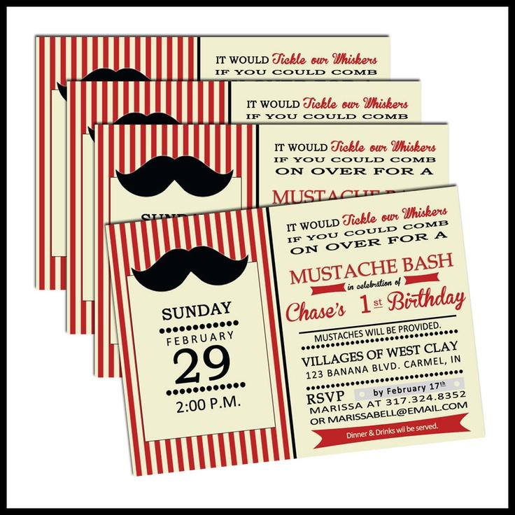 Mustache Bash  Birthday Party Invitation Boys by LullabyLoo, $18.00