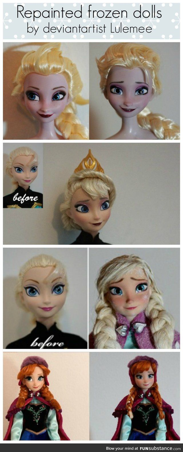 Repainted Frozen Dolls before and after