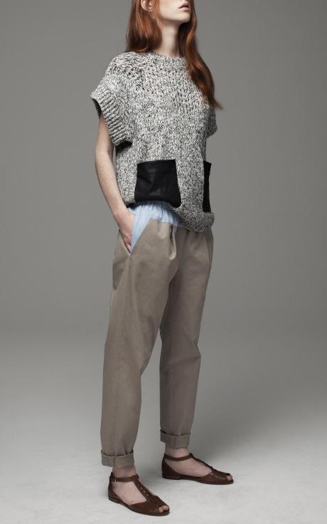 Leather pocket sweater, Thakoon Addition