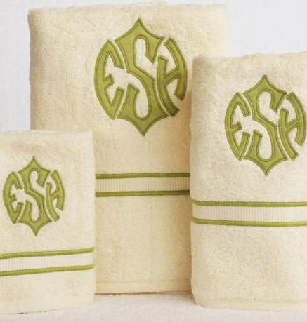 NEW! Custom Applique Monograms on Luxury Egyptian Cotton Towels! Shown on Custom Embroidered 2 Line Border.