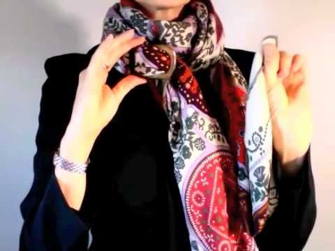 How-to wear scarves - Hermes scarf in a waterfall knot - YouTube