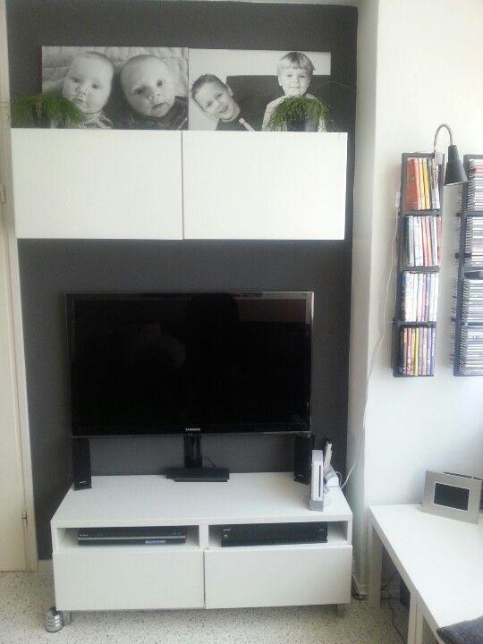 Tv hoekje met kasten van ikea