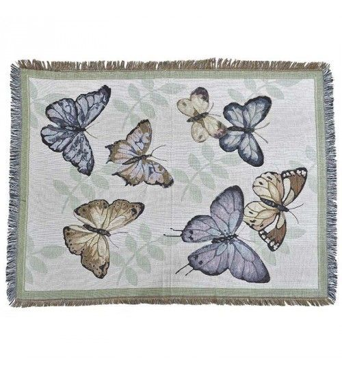 FABRIC THROW W_BUTTERFLIES 152X122