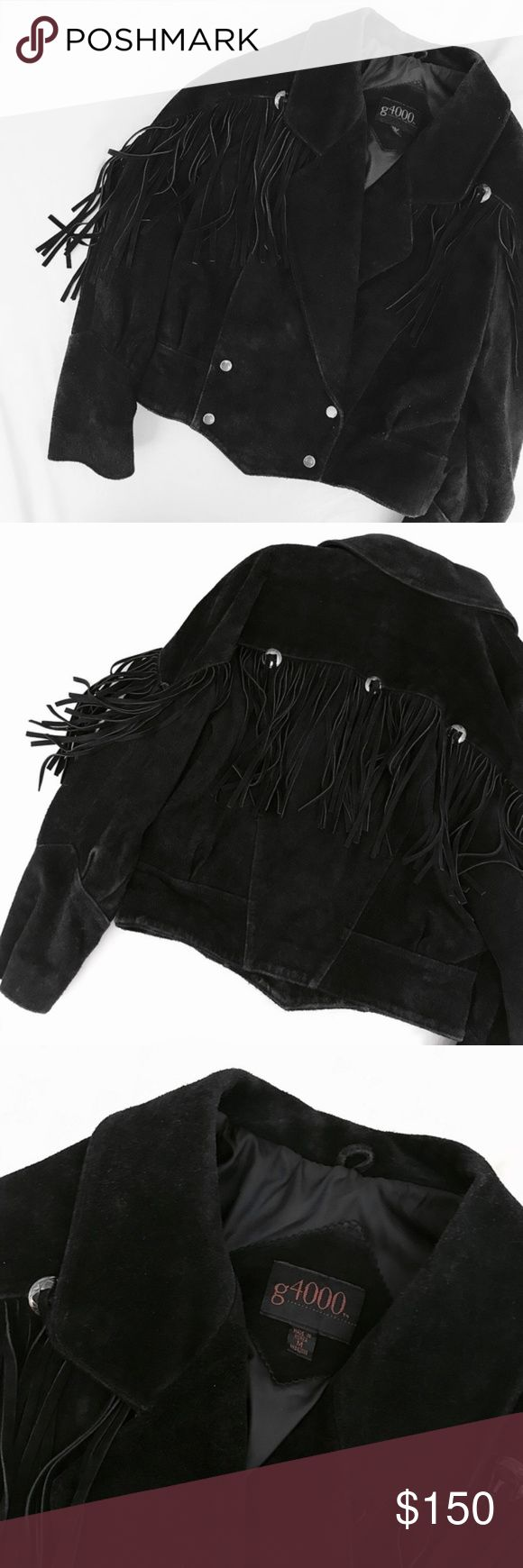 Fringed Sueded Leather Jacket You'll want to keep this forever--Vintage (likely from the 1970s), this incredible, full suede jacket features a full panel of voluminous fringe with concho details. Lovingly distressed, worn suede with long 1970s drop collar. Snap button closure, semi-oversize fit. Marked a size M, if you wear a size S-M this will give you a great fit (XS as well, will just be slightly more oversize). Great vintage condition with wear to suede which really improves the look…