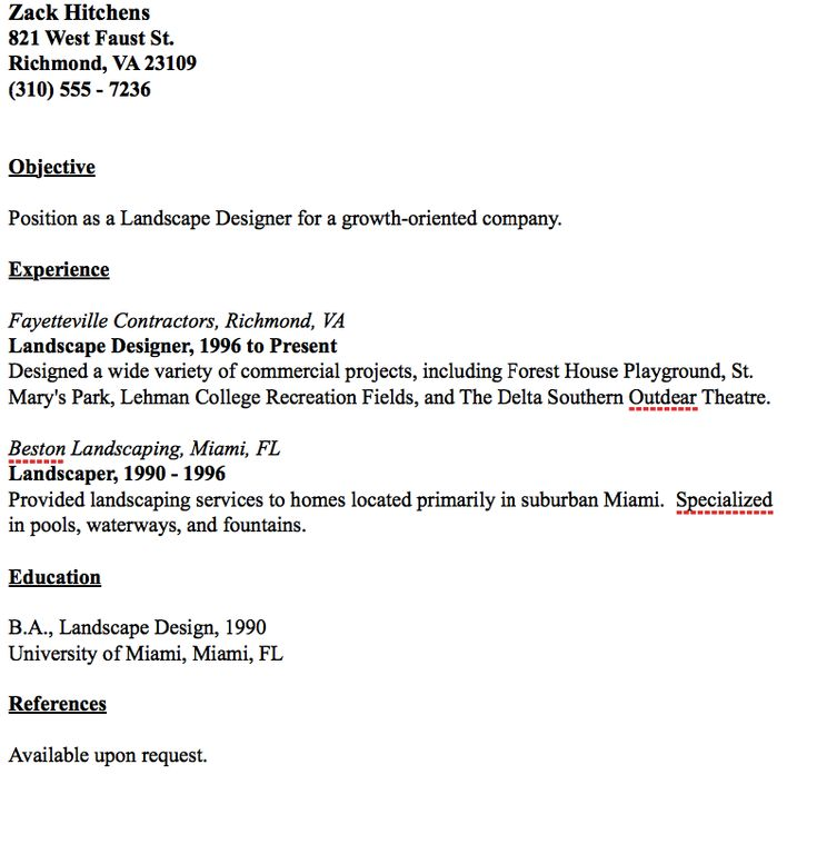 Example Of Landscape Designer Resume -    resumesdesign - air quality engineer sample resume