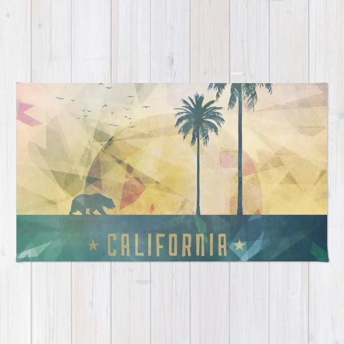 Buy Area & Throw Rugs with design featuring California by HappyMelvin and adorn your home with both style and comfort. Available in three sizes (2' x 3', 3' x 5', 4' x 6').