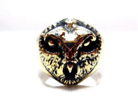 Brass OWL RING All Size Style Heavy Biker Harley Rocker Men's Jewelry  (BR-24)