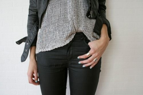 .. ♦ ..: Black Skinny, Fashion Style Inspiration, Winter Style, Street Style, Outfit, Leather Jackets, Grey, Black Pants, Style Fashion