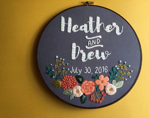 Custom Personalized Embroidery Hoop Art, Wedding, Engagement, Anniversary…