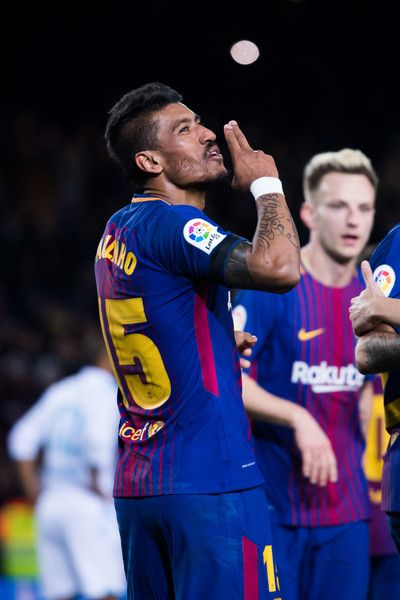 Paulinho of FC Barcelona celebrates after scoring his team's fourth goal during the La Liga match between FC Barcelona and Deportivo La Coruna at Camp Nou on December 17, 2017 in Barcelona.