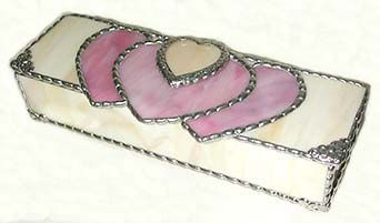 "Decorative Pink Stained Glass Jewel Box - 3 1/2"" x 5"" - $39.95  - Handcrafted Stained Glass Heart Design  * More at www.AccentOnGlass.com"
