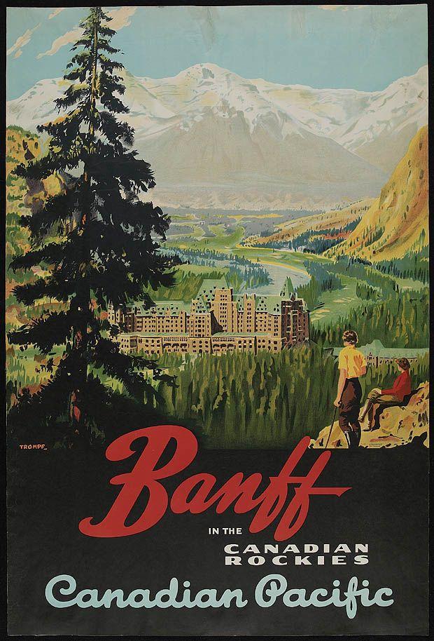 1925 Canadian Pacific Railway poster showing Banff Springs Hotel. (Library and Archives Canada)