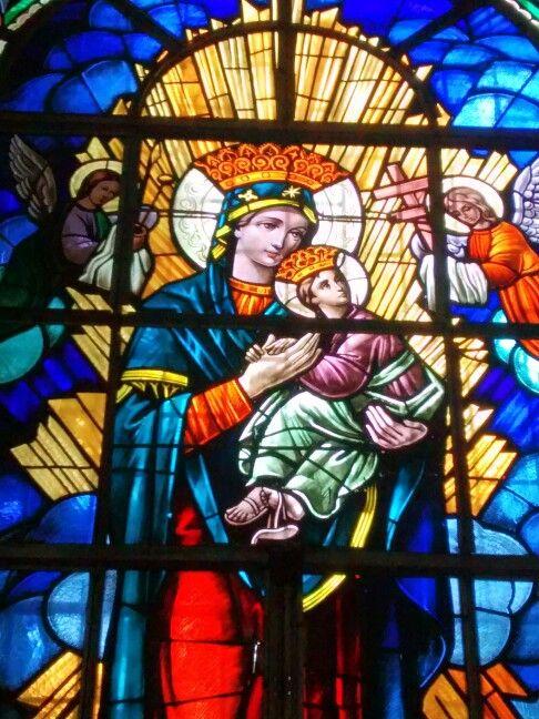 Nuestra Madre Celestial... Vitral Iglesia del Carmen en Barranquilla