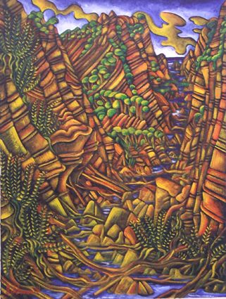 Dean Buchanan, Pararaha Gorge, Oil on unstretched canvas. Dimensions: 1220mm x 1265mm (canvas size), 770mm x 1030mm (image size).