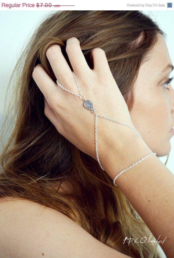 Holiday SALE Hand Chain Bracelet Hand Bracelet  Piece Hipster Silver Chain Bohemian Tibetan Drop Charm Hand Jewelry Piece BRSalome