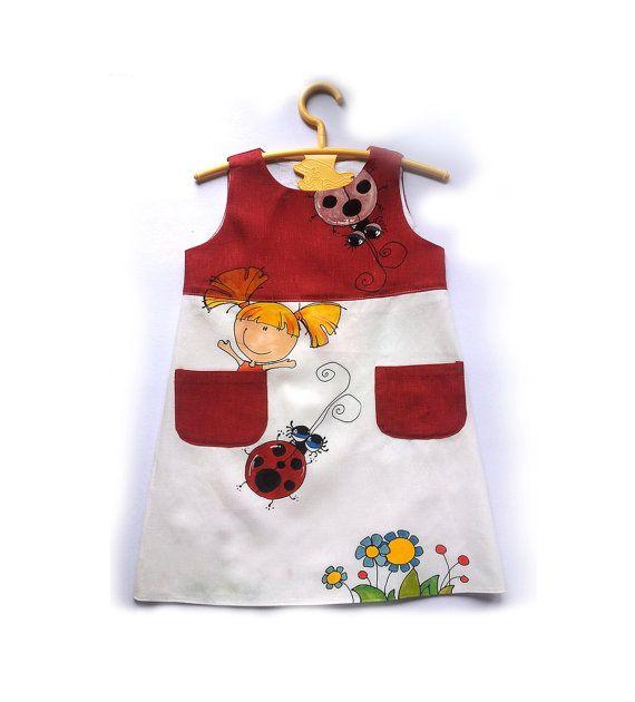 Flower Girl Dress-Red linen girls dress-linen-painted dress