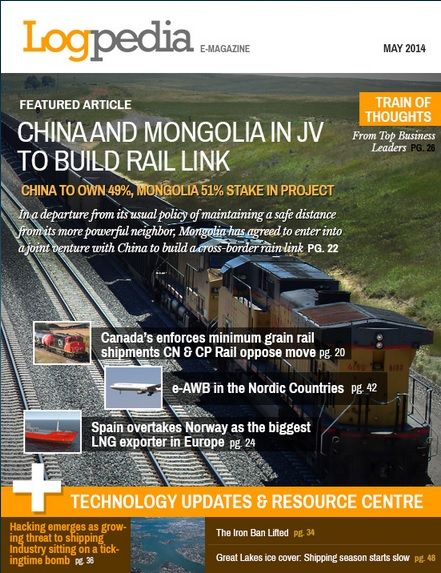 Logpedia.com's May 2014 edition of e-Magazine on International trade and logistics, with latest technology updates and quotes from CEO's of major companies in the field of logistics and commodities.