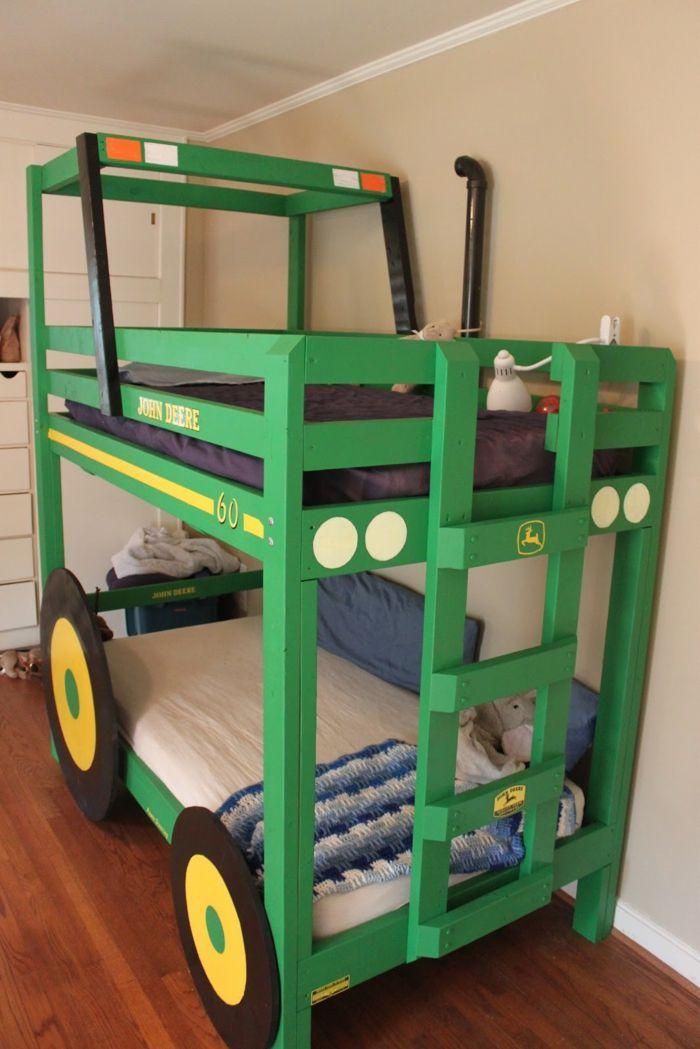 kinder etagenbett jungenzimmer gestalten ausgefallenes bett grün