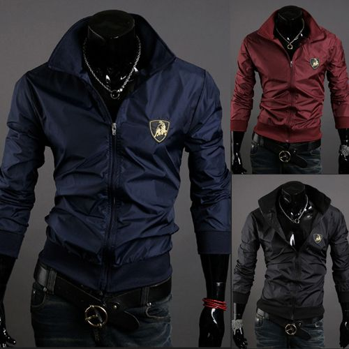 Men'S Windproof  Jacket Acrylic Turn-Down Collar Casual Zipper Nylon  Worsted Jacket Overcoat Man Jacket  New 2014 Jacket Mens $26.41