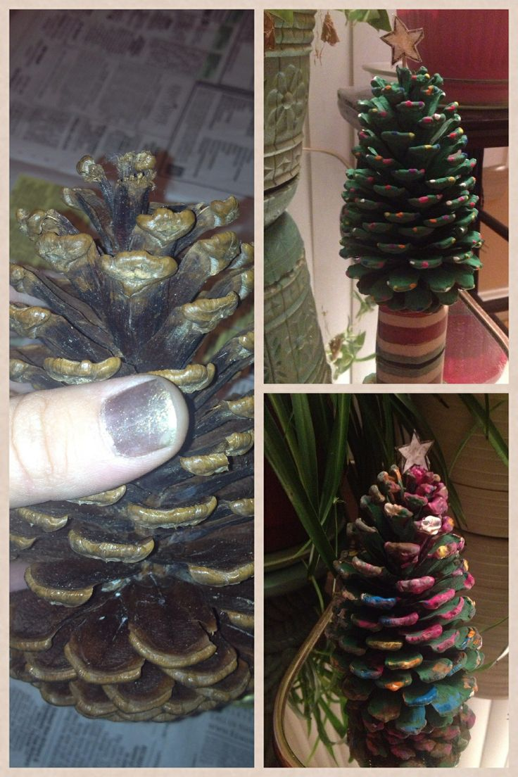 Pine Cone Christmas Trees: pine cones, paint, toilet paper roll cut to size for base and gift wrapping paper glued around it. #simple #diy #christmas #craft #childapproved