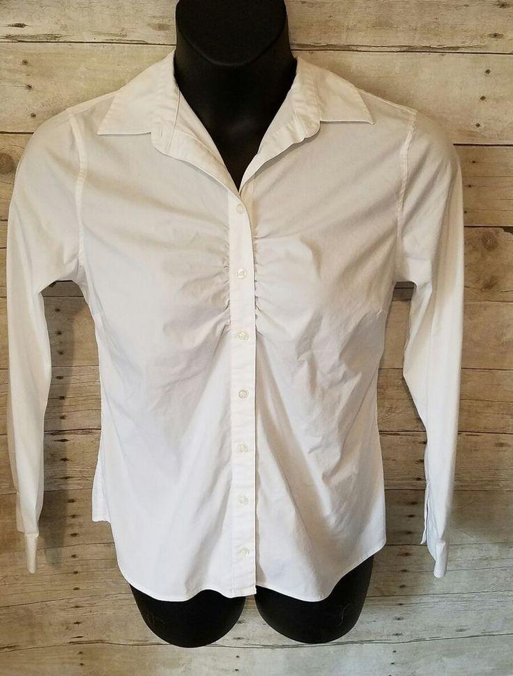 LANDS END Womans White Blouse SZ L #LandsEnd #ButtonDownShirt
