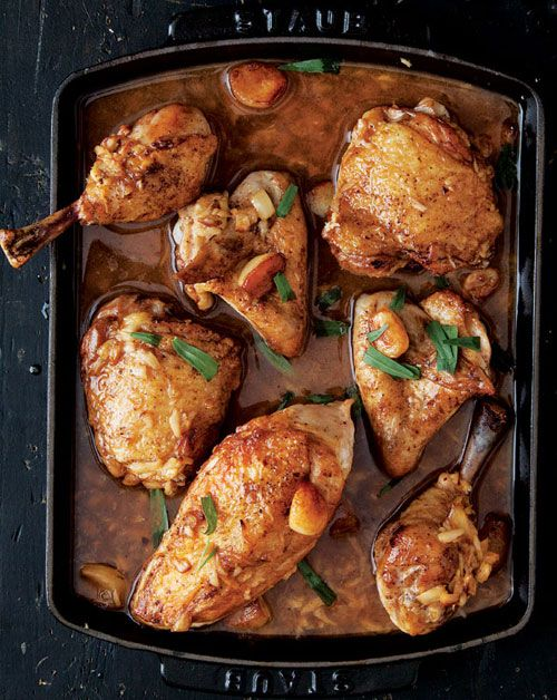 The ultimate simple, satisfying, weeknight meal for fall: chicken with 40 cloves of garlic.