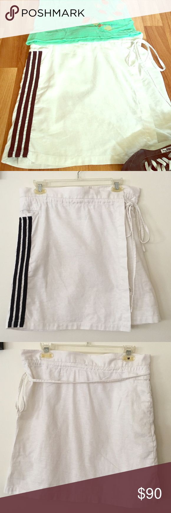 Y-3 linen wrap skirt Off white linen wrap skirt with 3 black line detail on right side. One pocket. In excellent condition. Yohji Yamamoto for Adidas. Y-3 Skirts