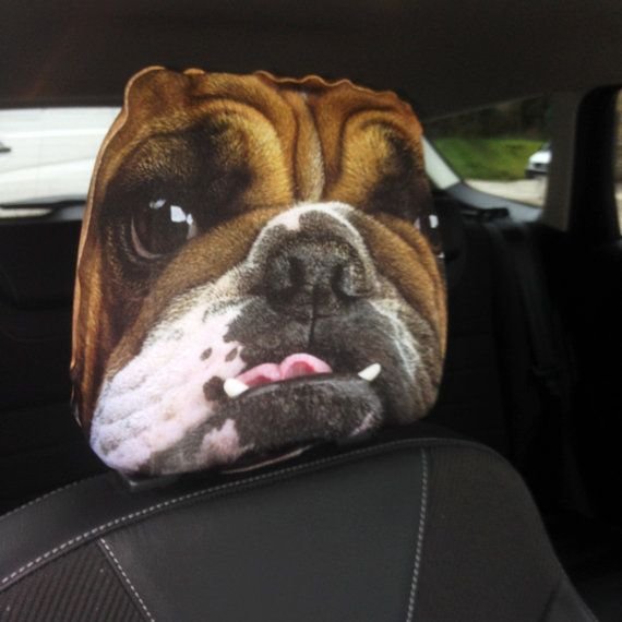British Bulldog Design Car Seat Headrest Cover by DigitalPrinters