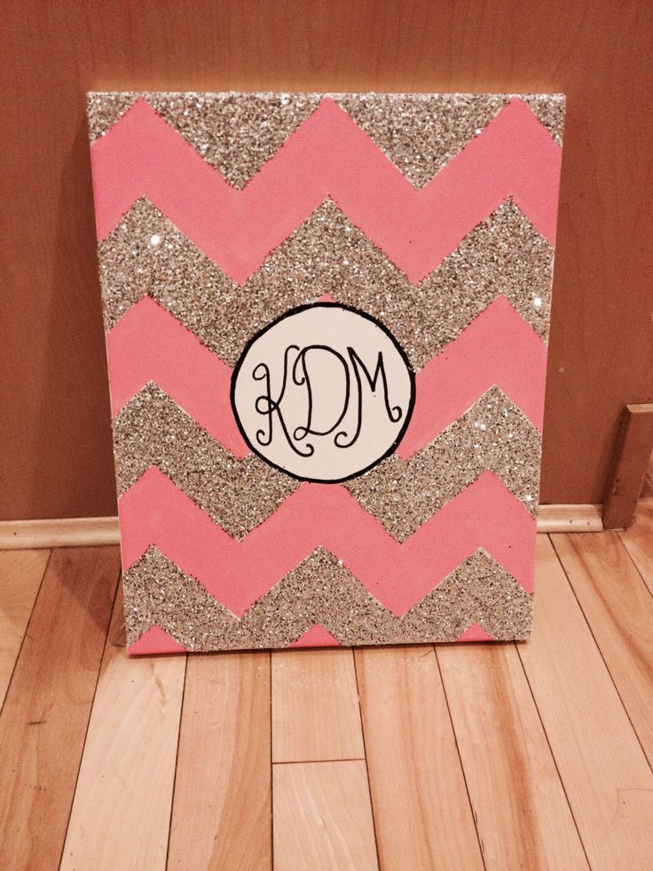 Monogram chevron canvas. With just a simple W for my sewing room