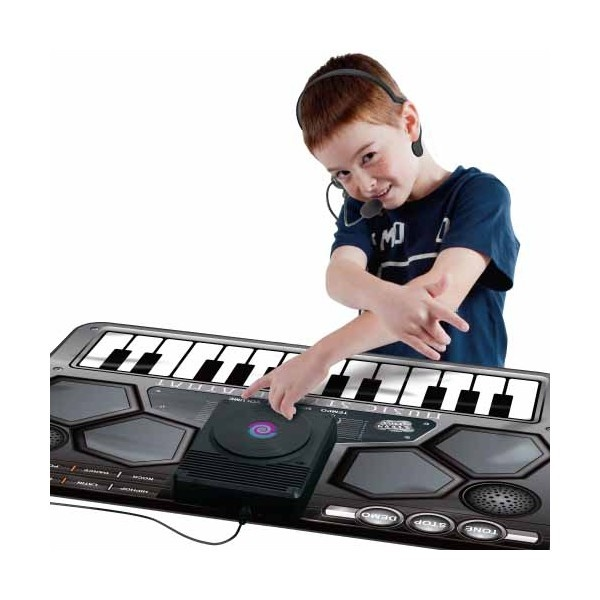 Tappeto console con 5 strumenti musicali. 24 bottoni di funzione. 4 suoni di batteria. 3 effetti scratch.