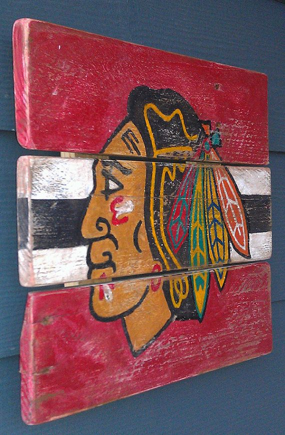 Chicago Blackhawks Hockey Vintage looking by HotShotPalletworks